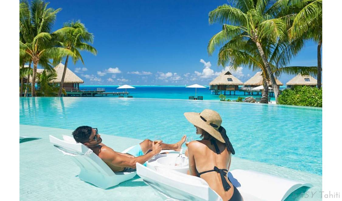vacation by the pool in Bora Bora