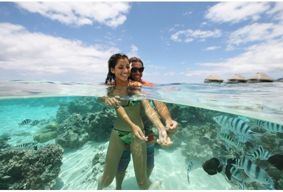 crystal clear lagoons in Moorea, French Polynesia