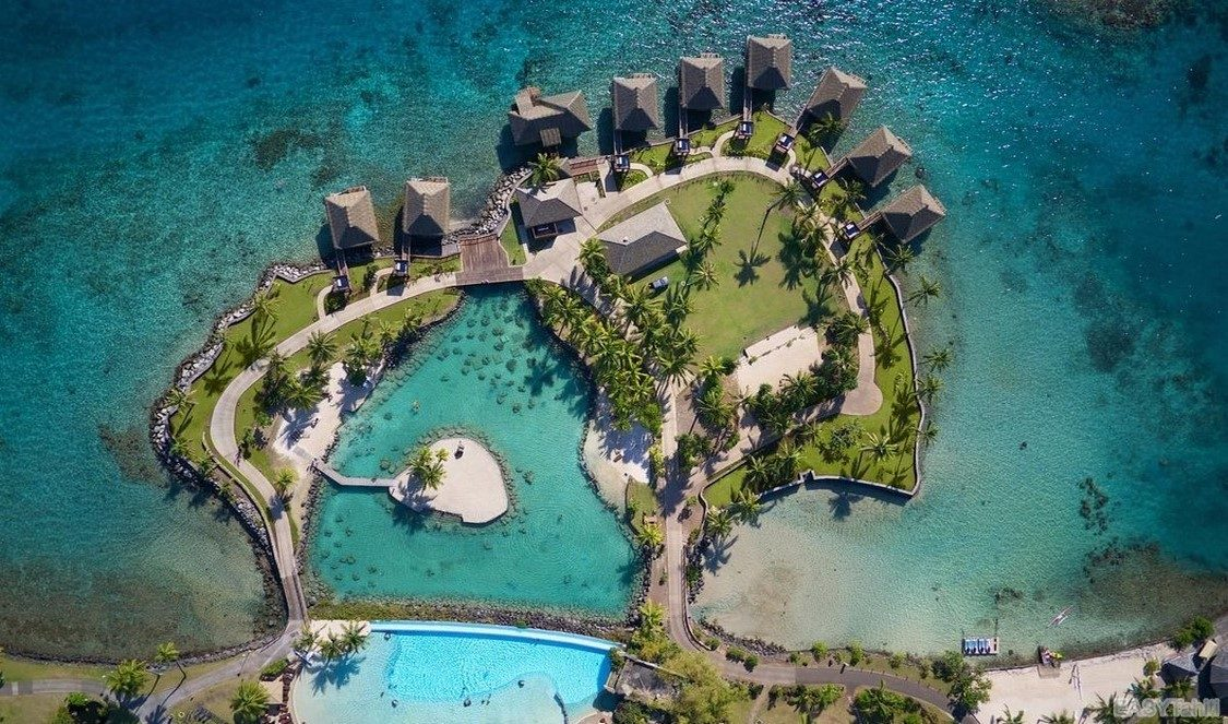 Tahiti lagoon and hotel pool in French Polynesia
