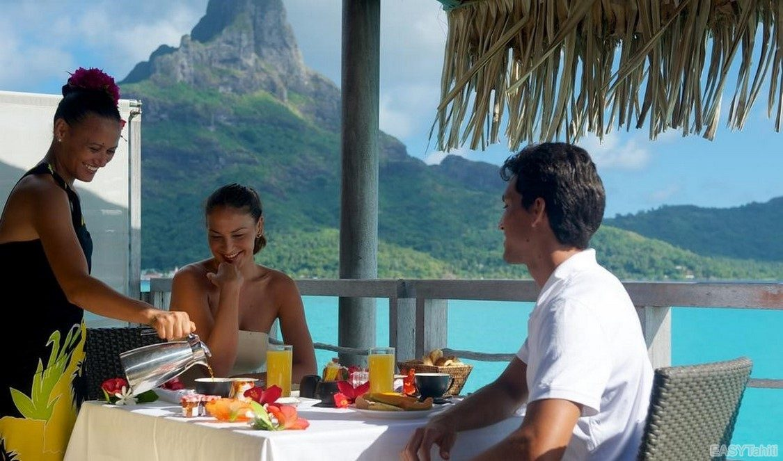 canoe breakfast delivered to your overwater bungalow terrace in Bora Bora French Polynesia