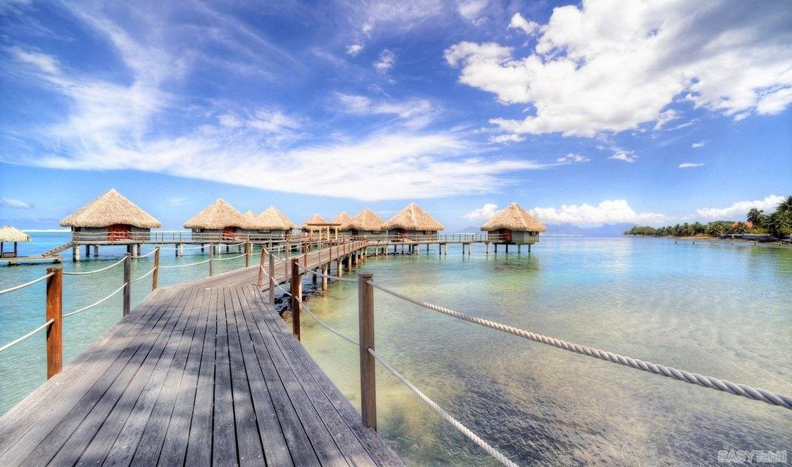 overwater bungalows in Tahiti, French Polynesia